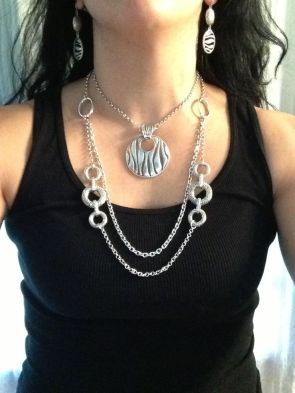 Runway necklace doubled with Zebra enhancer and earrings