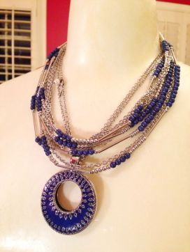 True blue necklace doubled with Double Take enhancer